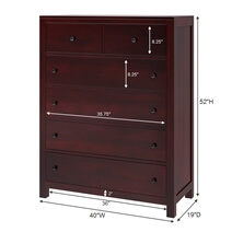 Petros Solid Mahogany Wood Tall Bedroom Dresser Chest With 6 Drawers