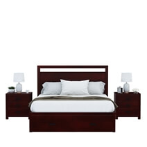 Anniston Transitional Mahogany Wood 4 Piece Bedroom Set