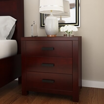 Anniston Transitional Style Solid Mahogany Wood 3 Drawer Nightstand