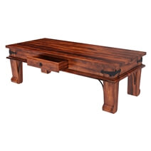 Cotesfield Midcentury Rustic Solid Wood 3 Piece Coffee Table Set
