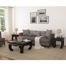 Ming Asian Black Classical Style Solid Wood Coffee Table Set
