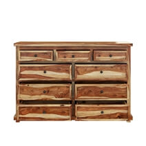 Larvik Rustic Solid Wood Bedroom Dresser With 9 Drawers