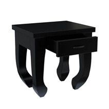 Ming Asian Black Classical Style Solid Wood Opium End Table
