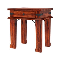 Cotesfield Midcentury Rustic Solid Wood 1 Drawer End Table