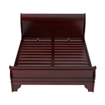 Carina Contemporary Solid Mahogany Wood Platform Sleigh Bed