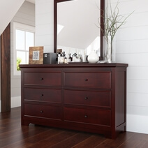 Carina Contemporary Mahogany Wood Large Bedroom Dresser With 6 Drawers