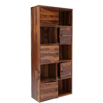 Prichard 10 Shelf Rustic Solid Wood Home Office Cube Bookcase