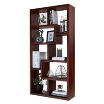 Gadsden Contemporary 8 Open Shelf Solid Wood Geometric Bookcase