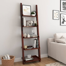 Eclectic Solid Wood 5 Open Shelf Leaning Ladder Bookcase