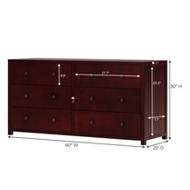 Andalusia Contemporary Mahogany Wood Long Bedroom Dresser w 6 Drawers