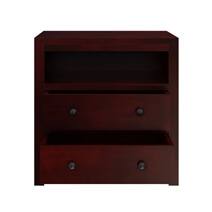 Andalusia Contemporary Solid Mahogany Wood 2 Drawer Nightstand