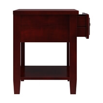 Henderson Transitional Solid Mahogany Wood 2 Tier 1 Drawer Nightstand