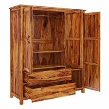 Sheffield Rustic Solid Wood Large Bedroom Wardrobe Armoire With Drawer