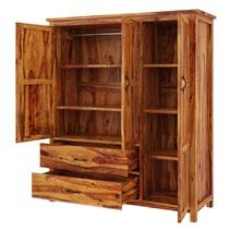 Sheffield Rustic Solid Wood 3 Door Large Bedroom Wardrobe Armoire
