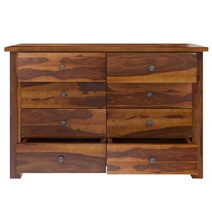 Osteen Contemporary Rustic Solid Wood 8 Drawer Double Dresser