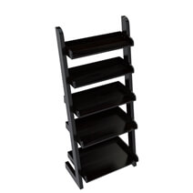 Ignacio 5 Open Shelf Solid Wood Leaning Ladder Bookcase