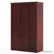 Dakota Rustic Solid Mahogany Wood Large Wardrobe Armoire With Drawers