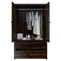 Bozeman Solid Wood Rustic Wardrobe Armoire With Shelves and Drawers