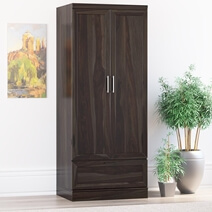 Anchorage Rustic Solid Wood Wardrobe Armoire With Shelves and Drawer