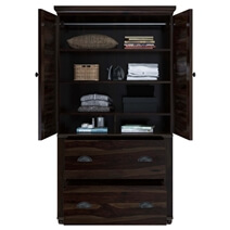Indiana Rustic Solid Wood Wardrobe Armoire With Drawers And Shelves