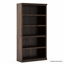 Kiana Rustic Solid Wood 5 Shelf Standard Bookcase