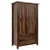 Kivalina Rustic Solid Wood Tall Storage Cabinet Armoire With Drawer