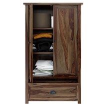 Kivalina Rustic Solid Wood Armoire Closet With Shelves And Drawer