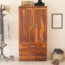 Caspian Rustic Solid Wood Wardrobe Armoire With Shelves and Drawers