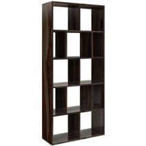 Acampo Rustic Solid Wood 12 Open Shelf Geometric Bookcase
