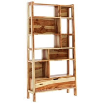 Alta Rustic Solid Wood 10 Open Shelf Leaning Ladder Bookcase w Drawer