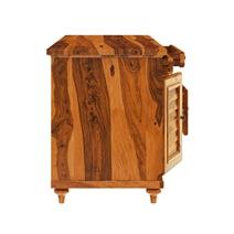 Clarkton Rustic Solid Wood Computer Desk With Louvered Door Cabinet