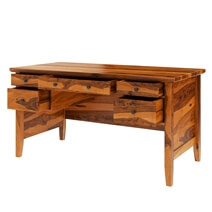 Calypso Rustic Solid Wood 60 Large Writing Desk With 5 Drawers