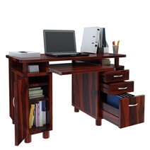Picacho Solid Wood Home Office Computer Desk With Keyboard Tray