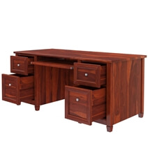 Aulander Solid Wood Home Office Executive Desk With Computer Tray