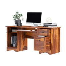 Gisela Solid Wood Computer Desk With Wooden Keyboard Tray