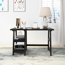 Drysdale Rustic Solid Wood Writing Desk With 2 Shelves