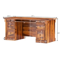Ansonville Solid Wood Dual Sided Storage 67 Large Home Office Executive Desk