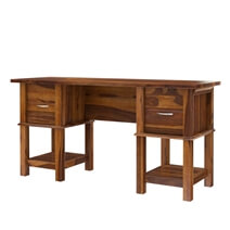 Burnettsville Rustic Solid Wood Writing Desk With File Cabinets