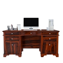 Victorian Style Rustic 66 Large Solid Wood Home Office Executive Desk