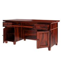 Bedias Solid Rosewood Office Computer Desk with Pull Out Keyboard Tray