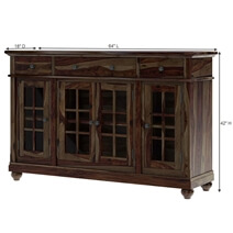 Artois Rustic Solid Wood Glass Door 3 Drawer Large Sideboard
