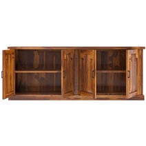 Benbow Rustic Solid Wood 4 Door Extra Long Sideboard Cabinet