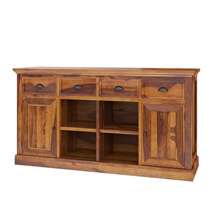 Ballico Rustic Solid Wood Front Open Shelf 4 Drawer Large Sideboard