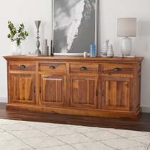 Cleone Rustic Solid Wood 4 Drawer Extra Long Sideboard Cabinet