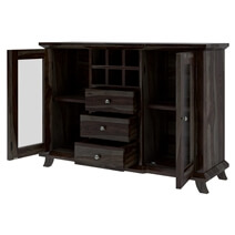 Coleville Solid Wood 3 Drawer Rustic Bar Buffet Cabinet with Glass Doors