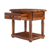 Isleton Rustic Solid Wood 1 Drawer 2 Tier End Table