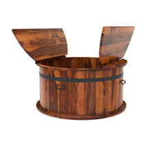 Rustic Wood 3 Piece Round Trunk Coffee Table Set