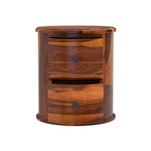 Friant Rustic Solid Wood 2 Drawer Round End Table
