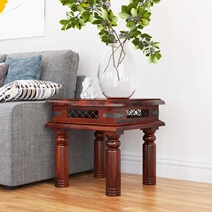 Licio Traditional Style Solid Wood & Iron Lattice Square End Table