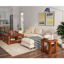 Sierra 3 Piece Square Coffee Table Living Room Set